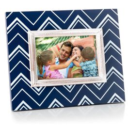 Navy Blue Chevron 4x6 Wood Picture Frame, , large