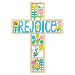 """Rejoice"" Laser-Cut Wood Cross, , large"