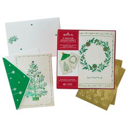 Green Wreath and Green Christmas Tree 2-Pack Boxed Christmas Cards With Seals, , large