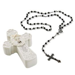 Precious Moments® First Communion Boy Cross Box with Black Rosary, , large