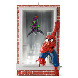 Slinging and Swinging Spider-Man and Green Goblin Ornament With Lights, , large
