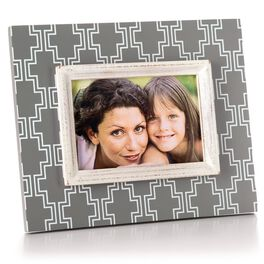 Grey Geometric 4x6 Wood Picture Frame, , large