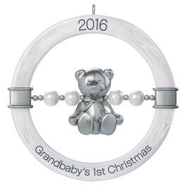 Grandbaby's First Christmas Teddy Bear Rattle Ornament, , large