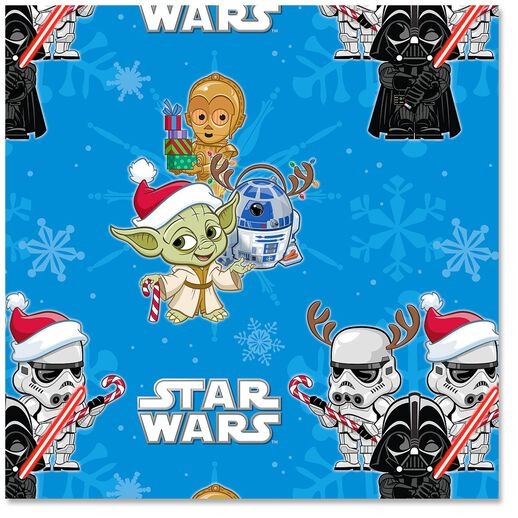 star wars wrapping paper A great, fun-looking product, but the paper quality (though shiny & smooth) is bad, it ripped a few times while i was wrapping in the folded areas, as if it was weak.
