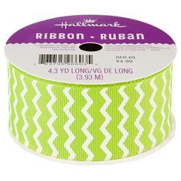 "Chartreuse Chevron 1.5"" Grosgrain Ribbon, , large"