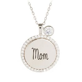 """Engraved """"Mom"""" Necklace in Sterling Silver, , large"""