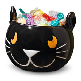 Black Cat Halloween Candy Bowl, , large