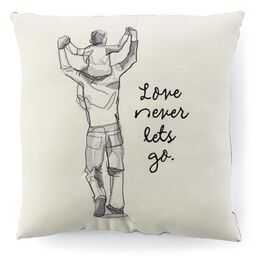 Love Never Lets Go Father and Son Embroidered 14x14 Pillow, , large