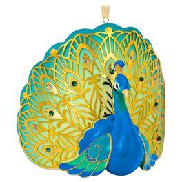 Pretty Peacock Premium Porcelain Ornament, , large