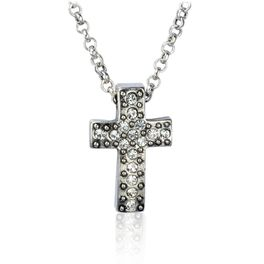 Silver and Crystal Cross Necklace, , large