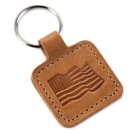 Leather American Flag Key Chain, , large