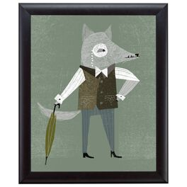 Gray Fox 20x24 Print With Matted Frame, , large