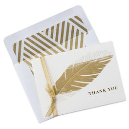 Golden Feather Thank You Notes, , large