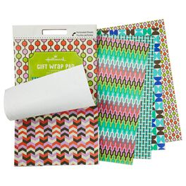 Miniature Wrapping Paper Pad in Graphic Geometric Patterns, , large