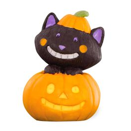 Happy Black Cat in Smiling Jack-o'-Lantern, , large