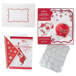 Photo Red Ornament and Photo Red and White Christmas Stocking 2-Pack Boxed Christmas Cards With Seals, , large