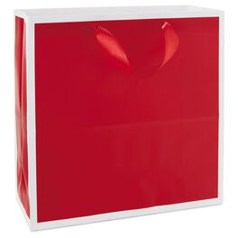 Scarlet Red Large Square Gift Bag, , large