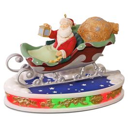 Once Upon a Christmas Santa Takes Flight Musical Decoration With Lights, , large