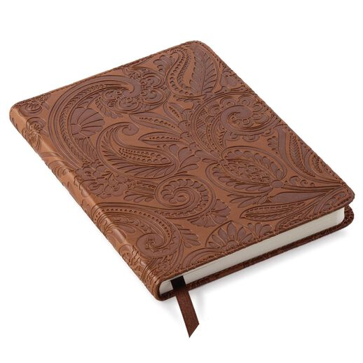 Brown paisley faux leather journal journals hallmark - Faux journal personnalise ...