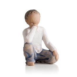 Willow Tree® Inquisitive Child Figurine (darker hair and skin tone), , large