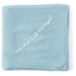 Blue Knit Religious Baby Blanket, , large