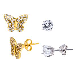 Butterfly Gold Plated Sterling Silver 2-Pack Stud Earring Set, , large