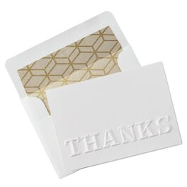 White Embossed Thank You Notes, , large