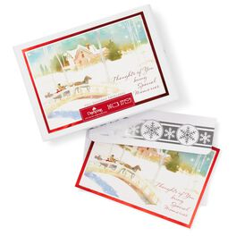 Horse-Drawn Sleigh Crossing Snowy Bridge Boxed Christmas Cards, , large