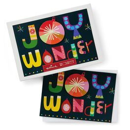 Brightly Lettered Joy and Wonder Boxed Christmas Cards, , large
