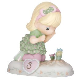 Precious Moments® Growing in Grace—Age 3 Blonde Hair Girl With Flowers Bisque Porcelain Figurine, , large