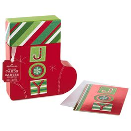 JOY Stocking Boxed Christmas Cards, , large