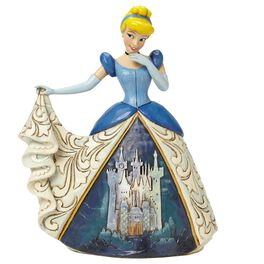 Midnight at the Ball—Cinderella with Castle Dress Figurine, , large