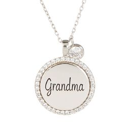 """Engraved """"Grandma"""" Necklace in Sterling Silver, , large"""