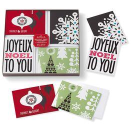 Graphic Ornament/Snowflake/Joyeux Noel/Christmas Trees Mini Assortment Boxed Christmas Cards, , large