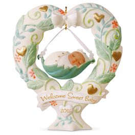 Baby's First Christmas Heart-Shaped Baby Swing Ornament, , large