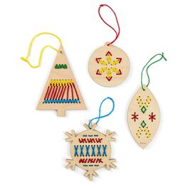 Embroidered Wooden Ornament Kit, , large