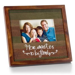 Weathered 4x6 Stained Wood Picture Frame with Family Sentiment, , large