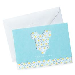 Blue Onesie Baby Thank You Notes, , large