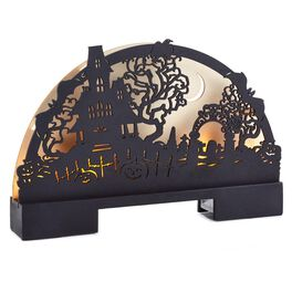 Laser-Cut Wood Plaque Haunted House Scene, , large