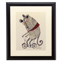 Lion on Bike 20x24 Print With Matted Frame, , large