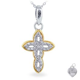 Diamond Accent Cross Necklace with Yellow Gold-Plating, , large