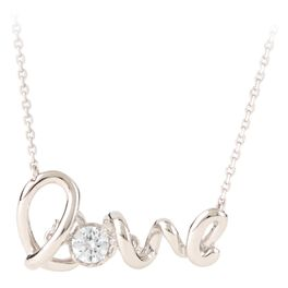 Sterling Silver Love With Cubic Zirconia Necklace, , large
