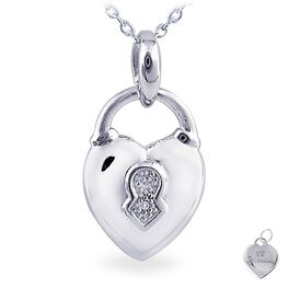 Diamond Accent Heart Lock Necklace, , large