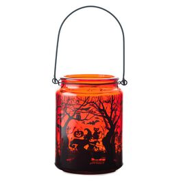 Large Glass Lantern Witch and Spooky Scene Halloween Decoration, , large