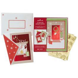 Front Door and Fireplace 2-Pack Boxed Christmas Cards With Seals, , large
