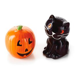 Jack-o'-Lantern and Cat Salt and Pepper Shaker Set, , large