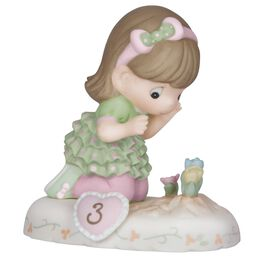 Precious Moments® Growing in Grace—Age 3 Brunette Hair Girl With Flowers Bisque Porcelain Figurine, , large