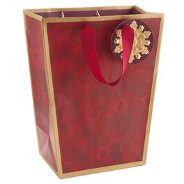 Red Floral Trapezoid Medium Christmas Gift Bag, , large