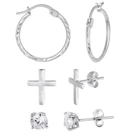 Sterling Silver Hoops, Cross Studs and Cubic Zirconia Studs 3-Pack Earring Set, , large