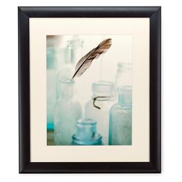 Vintage Glass Bottles With Feather 20x24 Print With Matted Frame, , large